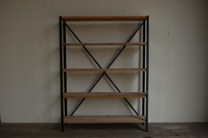 Stellingkast opbergrek steigerhout en staal treet - Houten meubels voor badkamers ...